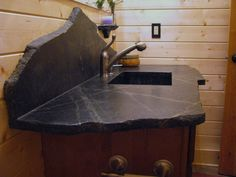 Eclectic Soapstone Vanity. Love The Random Cut For Top And Backsplash # Soapstone #bathroom