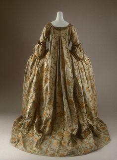 Dress, French, 1760s, silk, metal thread. Length (a): 73 in. (185.4 cm). Length (b): 39 1/2 in. (100.3 cm). Gift of Fédération de la Soierie, 1950? 50.168.2a, b. The Metropolitan Museum of Art © 2000–2016 The Metropolitan Museum of Art.