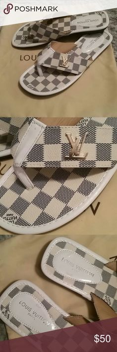 Leather checkered sandals great condition Check out the purse to match !!!! $elling leather sandals with gold accents Shoes Sandals