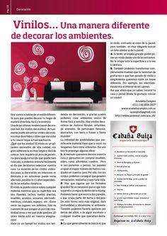 Nota sobre como decorar con vinilos. Octubre 2014.  http://www.anabellazampini.com.ar/  #eligedenuevo #silviafreire #anabellazampini