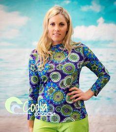 Women's UPF50+ long sleeve rashie/swim shirt in sizes 10 to 24.  Beach Belle.  #womensswimwear #swimwear #coveredswimwear