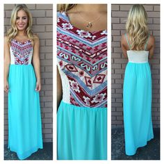 Mint Embroidered Tribal Bodice Maxi Dress | Dainty Hooligan Boutique