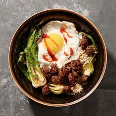 Minced Beef with Bok Choy and Fried Egg   CookingLight.com