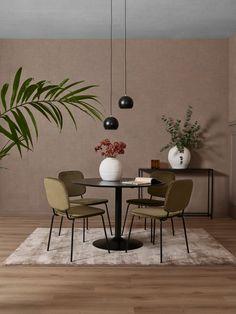 NOVA Spisestol i grønn velur og svart pulverlakkerte ben Decor, Furniture, Conference Room, Room, Table, Home Decor, Conference Room Table