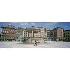 Plaza Del Castillo Pamplona Spain Canvas Art - Panoramic Images (30 x 12)