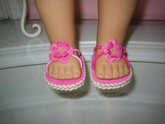 Pink sandals for doll