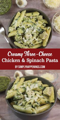 Delicious one-pot meal in under 30 minutes! This creamy three-cheese chicken and spinach pasta is a one-pot meal with basil pesto, cream cheese, Asiago, and Parmesan cheese. Cream Cheese Spinach, Cream Cheese Pasta, Pesto Spinach, Cream Cheese Chicken, Penne Recipes, Spinach Recipes, Healthy Recipes, Seafood Recipes, Chicken Recipes