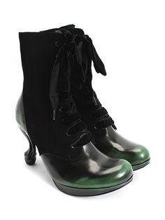 Amazing amazing--still love a Fluevog boot: Victoria (Black Suede & Green Rub-off) John Fluevog, Crazy Shoes, Me Too Shoes, Witch Boots, Shoe Shop, Beautiful Shoes, Lace Up Boots, Black Suede, Shoe Boots
