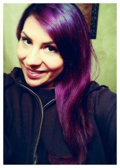 Violet to Orchid color. Done with Pravana Vivids. Www.scissorsnthecity.com