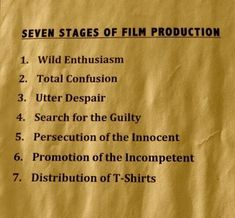 Image result for ten stages of filmmaking