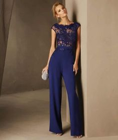 Breda - Cocktail jumpsuit with short sleeves and a bateau neckline in lace and crepe Royal Blue Evening Dress, Royal Blue Dresses, Dresses Uk, Evening Dresses, Prom Dresses, Formal Dresses, Cocktail Jumpsuit, Cocktail Outfit, Elegantes Outfit
