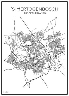 's-Hertogenbosch. Holland. Nederländerna. Map. City print. Print. Affisch. Tavla. Tryck. Stadskarta.