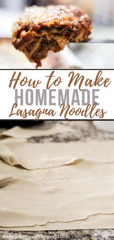 Homemade Lasagna Noodles, Recipes With Lasagna Noodles, Homemade Lasagna Recipes, No Noodle Lasagna, Homemade Pasta, Noodle Recipes, How To Make Lasagna, Fresh Pasta, Popular Recipes