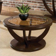 Standard Furniture La Jolla Round Coffee Table in Dark Merlot - 23761 - Lowest price online on all Standard Furniture La Jolla Round Coffee Table in Dark Merlot - 23761