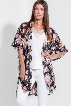 Check out this new amazing kimono, ladies! This beautiful floral kimono is just the right amount of boho mixed with chic! With an adorable flowy fit and slit up the sides, you're sure to look great when you complete any look with this! Floral Kimono, Kimono Top, Silver Icing, Stylist Pick, Online Collections, Fashion Company, Plus Size Fashion, Looks Great, Fashion Online