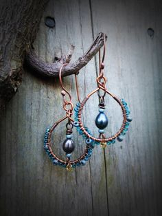 Wire Wrapped Pearl, Glass and Copper Hoop Dangles - Art & Soul Studios - pinned by pin4etsy.com