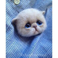 Cute Needle felted project wool animals cat(Via @ladyaromanova)