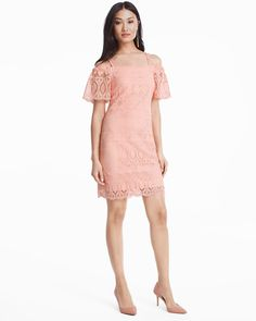 16e6e2d730f White House Black Market Off The Shoulder Lace Shift Dress