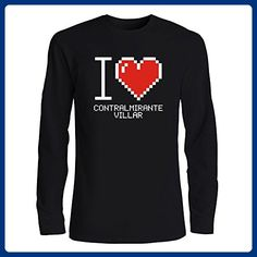 Idakoos - I love Contralmirante Villar pixelated - Peruvian Cities - Long Sleeve T-Shirt - Cities countries flags shirts (*Amazon Partner-Link)