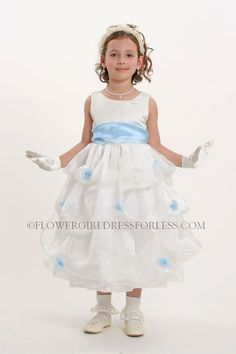 6353325c8d60 Flower Girl Dress Style 5213 White or Ivory- Sleeveless Organza Pick Up  Dress With Sky Blue $49.99