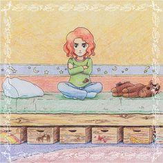 Eine #Illustration für #Kinder von Christina Busse www.christinabuss... für die #Kurzgeschichte 'Die kleine Hexe Kann-ich-nicht' von Silke Winter.