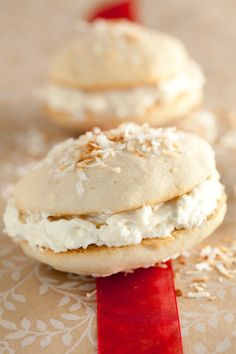 Coconut Whoopie Pies Ingredients 2 cups all-purpose flour 2 teaspoons baking powder teaspoon salt cup stick) unsalted butter, softened 3 t Gluten Free Desserts, Just Desserts, Delicious Desserts, Yummy Food, Pie Recipes, Sweet Recipes, Cookie Recipes, Dessert Recipes, Cookie Desserts