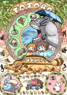 My Neighbor Totoro! | Gorgeous art noveau inspired portraits of Miyazaki's characters