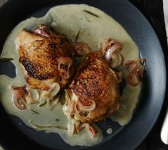 White wine braised chicken. This is an infinitely customizable dish: Try different fresh herbs, add thinly sliced vegetables, or throw in some spices.