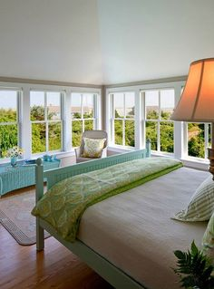 After we replace out windows I would love to make the master bedroom look like this. I love the look of the bed.