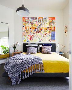 Our bedroom! Artwork by @jaivasicek Bedouin Societe linen sheets cushions &…