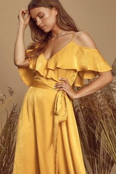 100 Bridesmaid Dresses Perfect for Your Fall Wedding   The Perfect Palette Sexy Maxi Dress, Backless Maxi Dresses, Maxi Wrap Dress, Satin Dresses, Women's Dresses, Long Dresses, Yellow Satin Dress, Wrap Dresses, Gold Dress