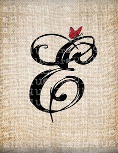 Antigua carta E guión monograma con por AntiqueGraphiqueAged