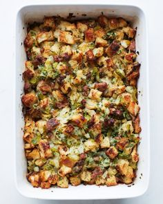 Sausage Pear Stuffing. A delicious twist on a classic #Thanksgiving dish.