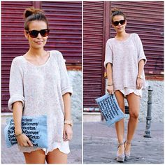 top knot, slouchy sweater, oversized clutch // casual weekend look <3