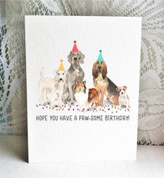 Available on Etsy, featuring a Soft Coated Wheaten Terrier, Weirmaraner, Shetland Sheepdog, Jack Russell Terrier, and Bloodhound dogs. By Driven to Ink.