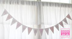 Pretty in Pink Happy Birthday Banner by ooohlalapaperie on Etsy, $25.00