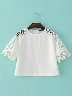 White Crew Neck Hollow Crochet Crop Blouse. White Casual Round Neck Short Sleeve Polyester Plain Crop Spring Blouses., blusabordada, bordados, bordado, guipur, bordadas, bordada, embroidered, crochet, broderie. Blusa bordada de mujer color blanco de SheIn.