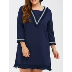 ebe115f031 Deep blue plus size fringed crochet trim shift dress shop online from  Nextmia.
