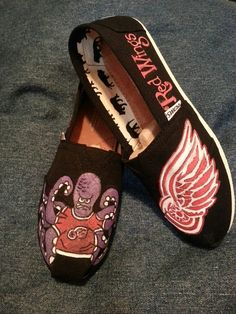 Handpainted Custom Detroit Red Wings TOMS or by ThePaintedChild, $85.00