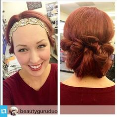 #Repost The @beautyguruduo Michelle & Jenn From SalonCentric ・・・ I can't go a day without a Pink Pewter headband. Super fun hairdo that takes seconds to do!  #redhead #hairbling #hairjewels #smile #beautiful #love #saloncentric #PinkPewter — with Karen Cecilia Alvarez.