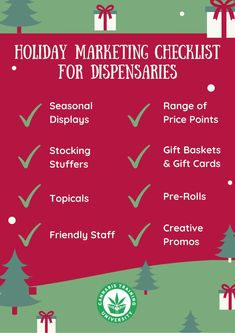 Dispensaries take note of this holiday checklist to prepare for one of the busiest sales times of the year!   #dispensary #medicalmarijuana #marketing #retail #dispensaries #budtender #medicalcannabis #CBD #hemp