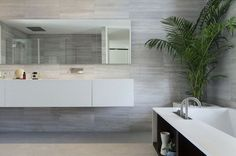 minimalist bathrooms furniture straight lines simple shapes white color