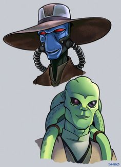Some little fan art portraits of bounty hunter Cad Bane and Jedi master Kit Fisto from the Clone Wars animated series. Cad Bane and Kit Fisto Geek Culture, Kit Fisto, Cad Bane, Star Wars Drawings, Star Wars Design, Star Wars Models, Memes, Nerd Herd, Star Wars Fan Art