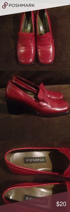 Red business-casual shoes. Womens red shoes size 7M Femina Shoes Heels