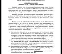 F. No.1-4/2010-P&P-IभरतसरकरGovernment of IndiaचयनआयगStaff Selection CommissionBlock No.12 CGO Complex Lodi Road New Delhi-110003IMPORTANT NOTICESubmission of OBC Certificate by the candidatesCandidates may refer to the provisions in the CommissionsearlierNotices ofvariousExaminations which inter-alia prescribedthat the  OBC Certificatein the prescribed formatissued withinThreeyears before the last date of receipt of applications and up to 180 daysafter the closing date of applications…