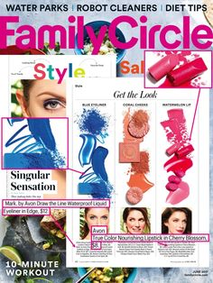"@FamilyCircleMag featured mark. by Avon Draw the Line Waterproof Liquid Eyeliner in Edge and Avon True Color Nourishing Lipstick in Cherry Blossom featured in ""Singular Sensation"" as products that easily achieve one-step monochromatic beauty looks."