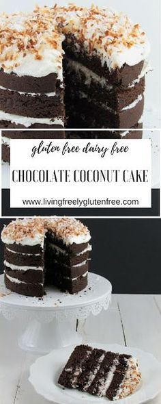 This moist and decadent Chocolate Coconut Cake is gluten free and dairy free. It is the perfect spring dessert to share with everyone. http://www.livingfreelyglutenfree.com