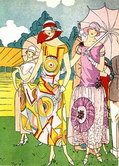 Colorful Deco Fashion Plate--Ladies In The Sun
