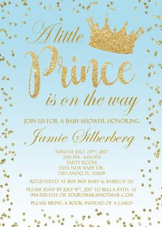 Light blue gold crown prince baby shower boy card baby shower boys little prince baby shower invitation stopboris Gallery