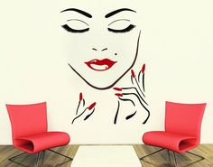 Wall Decals Beauty Salon Girl Face Hand Manicure Nail Lips Long Lashes Closeup Makeup Decal Vinyl Sticker Beauty Salon Home Decor Dear Buyers, Welcome to our shop VinylDecals2U! ★ SIZE AND COLOR ★ Approximate Item Sizes: 18 Wide x 23 Tall 22 Wide x 28 Tall 28 Wide x 35 Tall 38 Wide x Beauty Salon Decor, Nail Salon Decor, Salon Decorating, Vinyl Wall Decals, Wall Sticker, Nail Manicure, Nail Polish, Makeup Studio, Beauty Studio